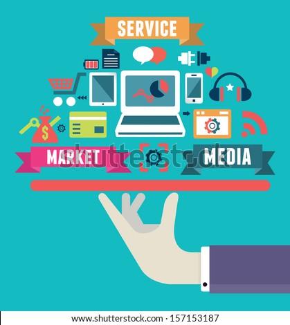 Flat concept of media market service - vector illustration