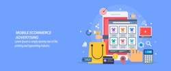 Flat concept of Mobile e-commerce advertising, mobile ads flat vector banner