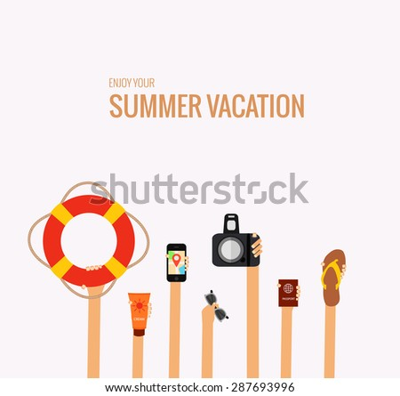 flat concept of summer trave