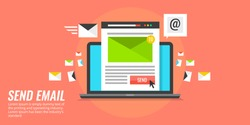 Flat concept Send email. email marketing, email notification vector