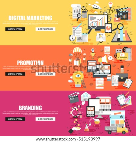 Flat concept set of social campaign, digital marketing, mobile marketing, advertising and promotion, business branding. Concepts for website and graphic design. Flat icons. Mobile and print media.