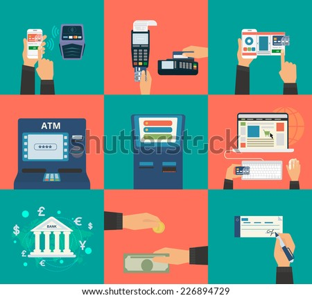 Flat concept vector illustration set of payment methods such as credit card with website, nfc technology, mobile app, atm and terminal, money transfer, paying by cash and invoice.