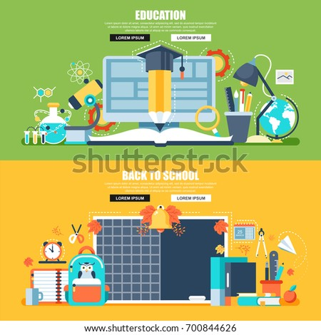 Flat concept web banner of online education, video tutorials, staff training, learning, knowledge, back to school, study. Conceptual vector illustration for web design, marketing, and graphic design.