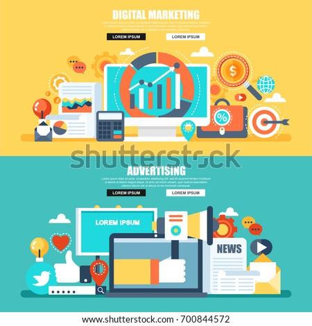 Flat concept web banner of social campaign, digital marketing, mobile marketing, advertising, promotion, business branding. Conceptual vector illustration for web design, marketing, graphic design.