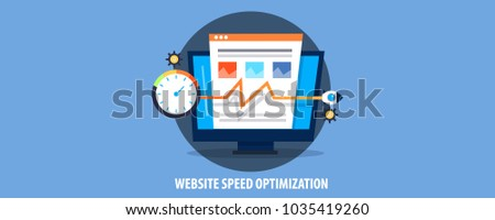 Flat concept website speed optimization, page loading time, SEO score vector banner