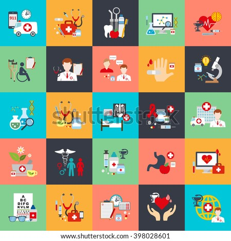 Flat conceptual icons set of online medical support, family health care, health insurance, pharmacy, medical services, laboratory tests, ambulance, online pharmacy. Flat vector icon.