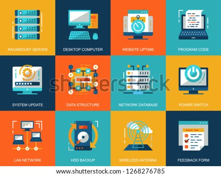 Flat conceptual network technology icons concepts set for website and mobile site and apps. Database server connection, cloud computing. Flat style pictogram pack. Vector illustration.