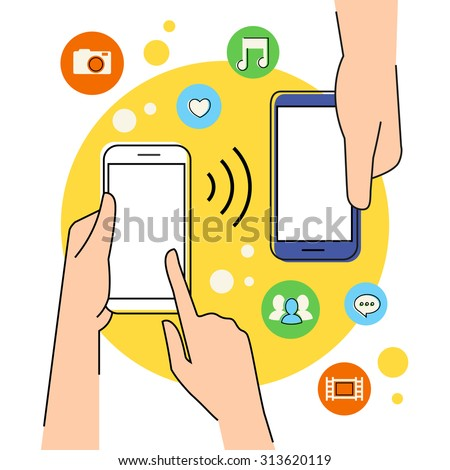 Flat contour illustration of people sharing data via smartphone with nfc function