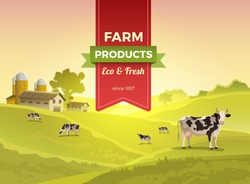 Flat cow on green meadow field and countryside buildings infographic template vector illustration. Natural eco and fresh farm products concept.