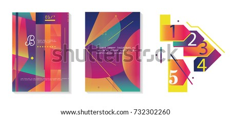Flat creative and colorful covers set. Geometric shapes with typography poster design template.