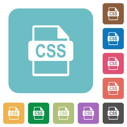 Flat CSS file format icons on rounded square color backgrounds.