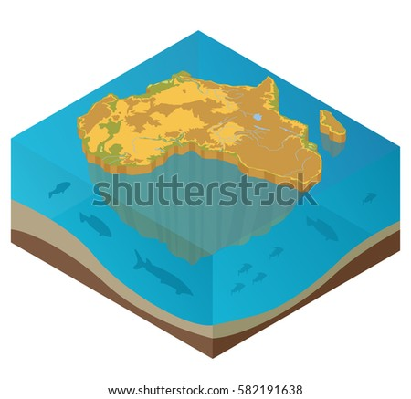 flat 3d isometric africa map