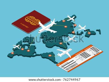 flat 3d isometric air travel