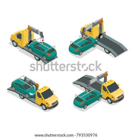 Flat 3d isometric auto car Tow truck 3d front back view infographics. Recovery vehicle repair service concept. Wrecker breakdown lorry loading and transportation