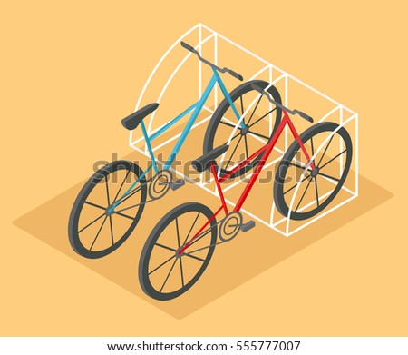 flat 3d isometric bicycle for