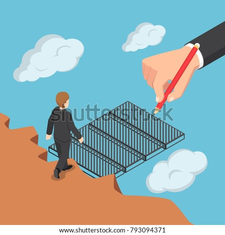 Flat 3d isometric big business hand drawing the bridge to help businessman across the gap. Business help and support concept.
