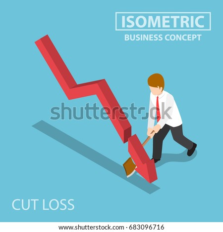 flat 3d isometric business cut