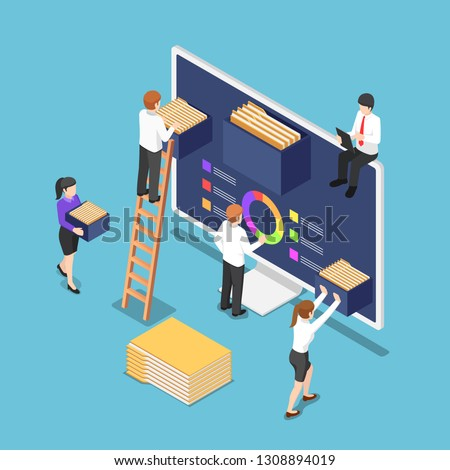 Flat 3d isometric business people are organize document files and folders inside computer. File and data management concept.