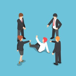 Flat 3d isometric business people pointing the finger to blaming businessman. Business failure concept.