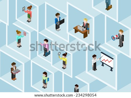 Flat 3d isometric business people professional diversity web infographic concept vector. Different professions businessman businesswoman in square room slots wall. Social network teamwork. Headhunting