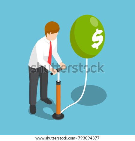 Flat 3d isometric businessman blowing a dollar balloon by air pump. Inflation money and financial concept.