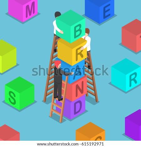 Flat 3d isometric businessman building BRAND block, brand building concept