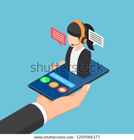 Flat 3d isometric businessman hand holding smartphone with female call center icon. Customer service support concept.