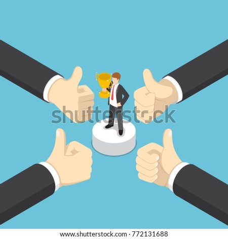 Flat 3d isometric businessman hands show thumb up finger gesture to business winner. Business success concept.