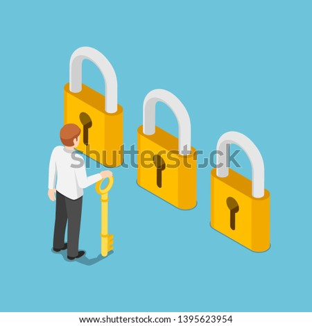 Flat 3d isometric businessman holding golden key and thinking in front of three golden lock. Business choice and opportunity concept.