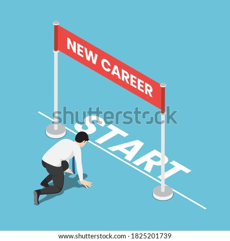 Flat 3d isometric businessman in starting position and ready to his new career. Start new career and business challenge concept. Photo stock ©