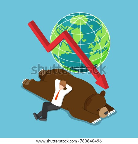 Flat 3d isometric businessman lay down on sleeping bear. bearish stock market and financial concept.