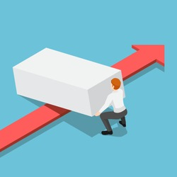 Flat 3d isometric businessman lifting up obstacle to let the red arrow pass. Overcome obstacles in business concept.