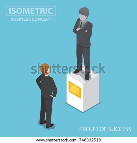 Flat 3d isometric businessman looking at statue of himself. Proud and business success concept.