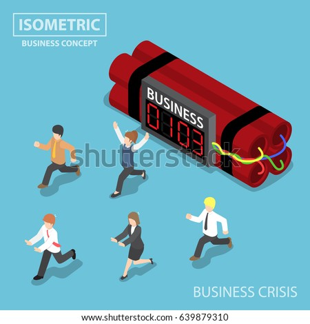 flat 3d isometric businessman