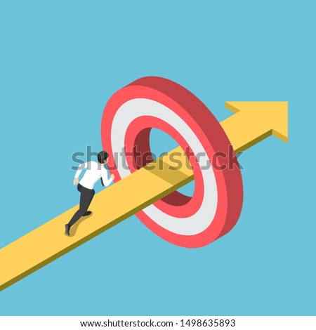 Flat 3d isometric businessman running on the arrow piercing through target. Business goal and success target concept.