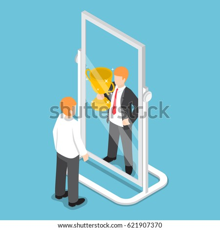 Flat 3d isometric businessman see himself being successful in the mirror, successful career concept Stock photo ©