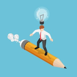 Flat 3d isometric businessman surfing on pencil with lightbulb over his head. Business idea and creativity concept.