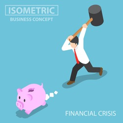 Flat 3d isometric businessman trying to break piggy bank. financial crisis concept.