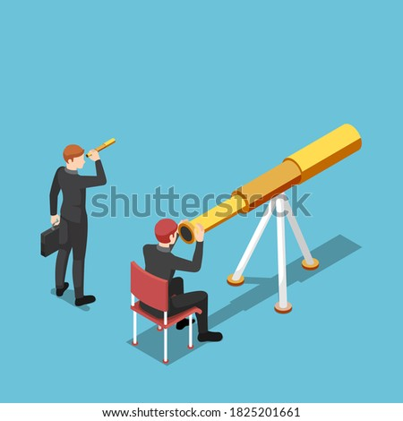 Flat 3d isometric businessman use bigger telescope than his rival. Business vision and competition concept. Foto stock ©