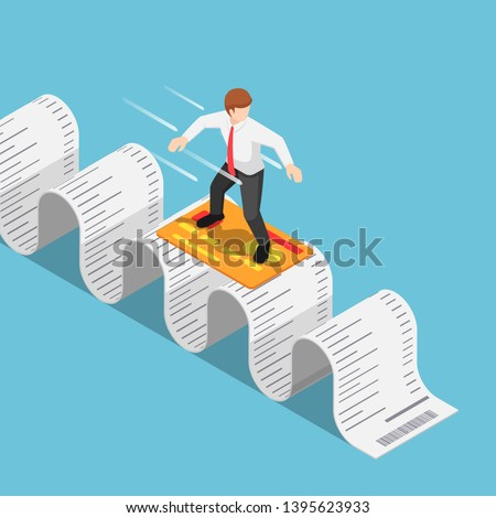 Flat 3d isometric businessman use credit card and surfing on shopping receipt. Debt and financial concept.