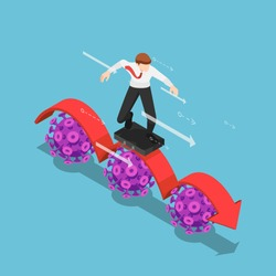 Flat 3d Isometric Businessman using Business Bag as a Surfboard Surfing on Red Arrow over Covid-19 Virus. Covid-19 Impacts to Business Concept.