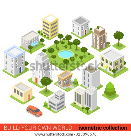 Flat 3d isometric city building block dormitory area sleeping quarter infographic concept. Build your own infographics world collection.