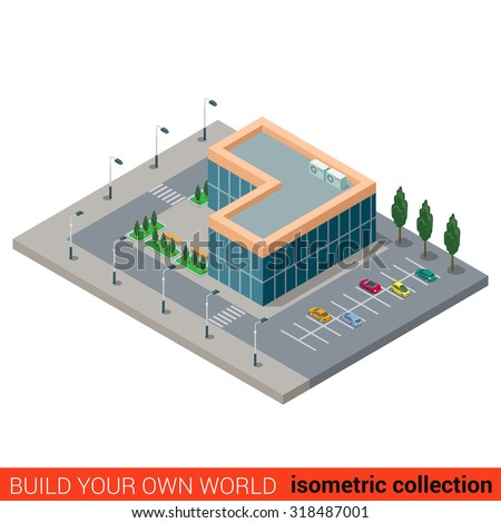 flat 3d isometric city office parking glass building block infographic concept build your own infographics build your own office