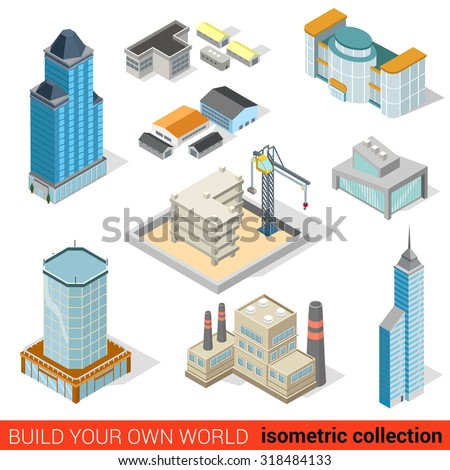 Flat 3d isometric city skyscraper building block for Build your own 3d house