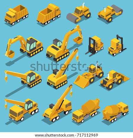 Flat 3d isometric construction transport icon set include excavator, crane grader, cement mixer truck, road roller, forklift, bulldozer