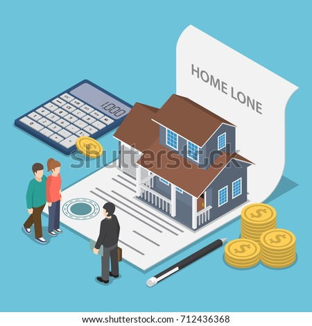 Flat 3d isometric couple talking with real estate agent. Home loan and real estate business concept