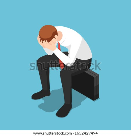 Flat 3d isometric depressed businessman facepalm or cover his face by hands sit on business briefcase. Business failure and fired concept.