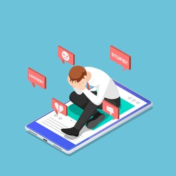 Flat 3d Isometric Depressed Businessman Sitting on The Smartphone with Hate Speech from Social Media. Social Network and Cyberbullying Concept.