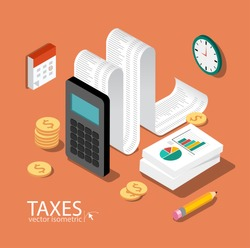 Flat 3d isometric design concepts for business and finance. Concepts for taxes, finance, bookkeeping, accounting, business, stock market, market research, etc.