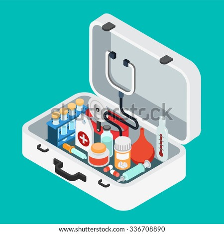 Flat 3d isometric doctor case first aid kit concept web infographics vector illustration. Stethoscope light thermometer clyster enema pill pipette salve syringe flask.
